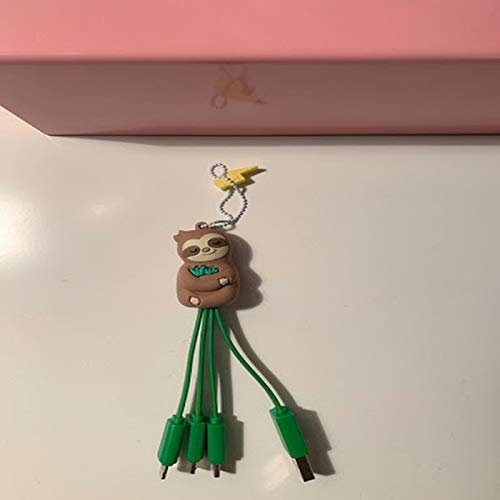 Funny Sloth On Skateboard USB Charging Cable 3 in 1 Retractable Fast Charger Cord Connector for All Phones with Tablets