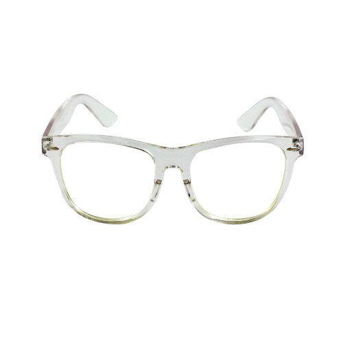 MyLux Connection HOTLOVE Rectangle Fashion Sunglasses P2133WHT Black with White Frame Clear Lens for Women and Men can be optical frame