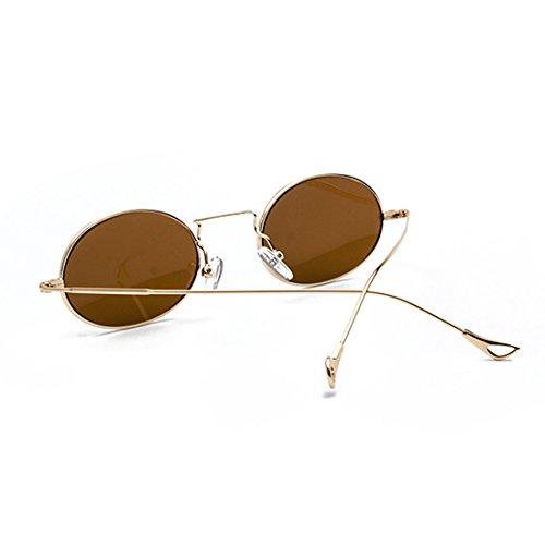 Gafas sol Eyewear Small Oval Frames Dorado Metal Marrón Sun Fashion Eyeglass Glasses de Women Redondo Inlefen 8w5qd8Y