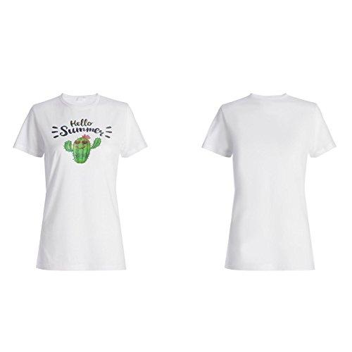 Hallo sommer kaktus lustiges geschenk Damen T-shirt d627f