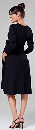 HAPPY Black Dress Long Skater Waist 606p MAMA Womens Empire Chelsea Clark Sleeves Maternity UawU7rq