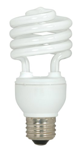 Satco S6273 18-Watt Medium Base T2 Mini Spiral, 5000K, 120V, Equivalent to 75-Watt Incandescent Lamp for Enclosed Fixtures, 3-Pack