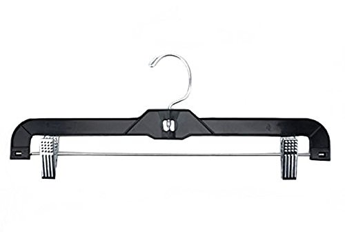 NAHANCO 8600RC Heavy Weight Plastic Skirt/Slack Hanger with Metal Clips, 14'', Shiny Black (Pack of 100) by NAHANCO