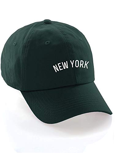 - Daxton USA Cities Baseball Dad Hat Cap Cotton Unstructure Low Profile Strapback - New York Hunter White