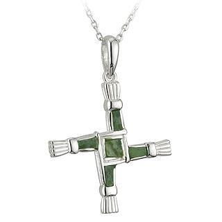 [CJS44703] Irish Green Connemara Marble St. Brigid's Cross