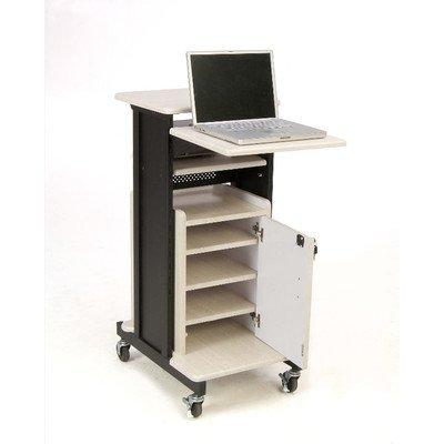 Oklahoma Sound PRC-250 Deluxe Presentation Cart, 30'' Length x 18'' Width x 40.5'' Height, Ivory Woodgrain