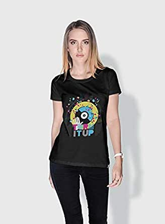 Creo Turn It Up Trendy T-Shirts For Women - L, Black