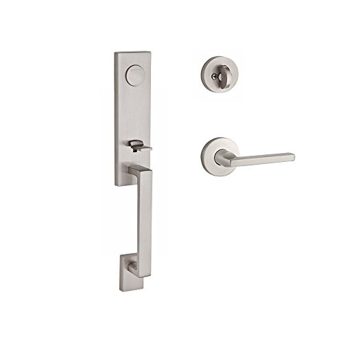 Hand Baldwin Hardware Left (Baldwin FDSEAXSQULCRR150 Reserve Full Dummy Handleset Seattle x Square with Contemporary Round Rose in Satin Nickel Finish Left hand)
