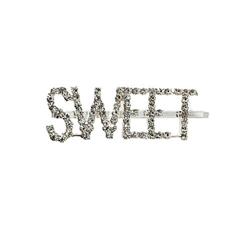 (Simdoc English Letter Hairpin Glitter Rhinestone Embellishment Side Straight Hair Clips Bangs Clip One Word Hair Clip Hair Accessory For Girls Women Gift,8 Styles)