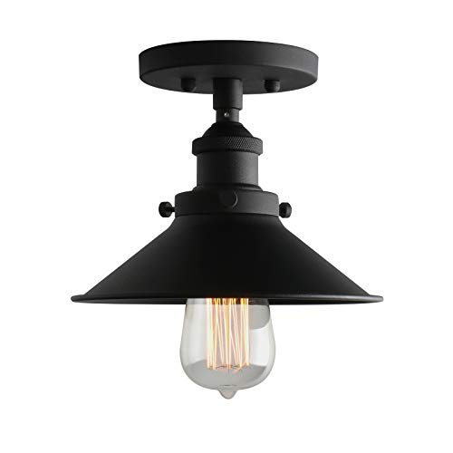 "Phansthy Vintage Industrial Flush Mount Light 1-Light Mini Ceiling Light with 7.87"" Black Light Shade (Fixture Cone Light)"