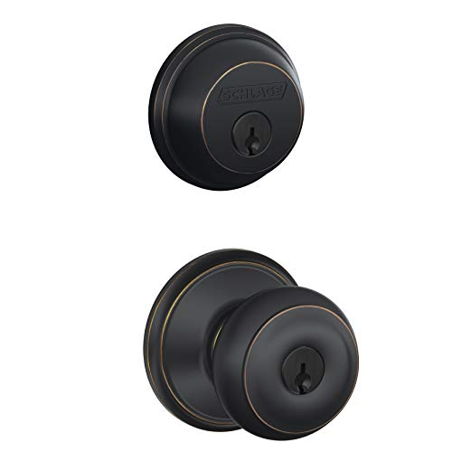 - Schlage FB50NVGEO716 Georgian Entry Deadbolt Lock, Bronze