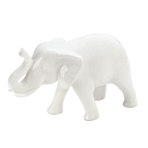 (Small White Ceramic Elephant)