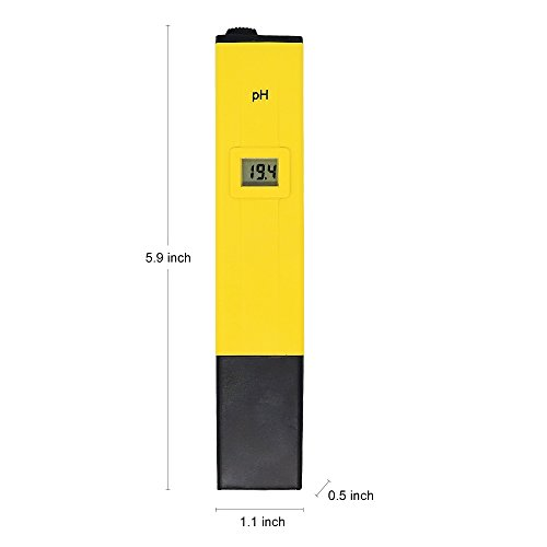 PH Meter - Pocket Size PH Meter Tester for Household Drinking Water Hydroponics Aquariums Swimming Pools PH 0 -14.0 Measuring Range 0.1PH Resolution by Bseen (Yellow)