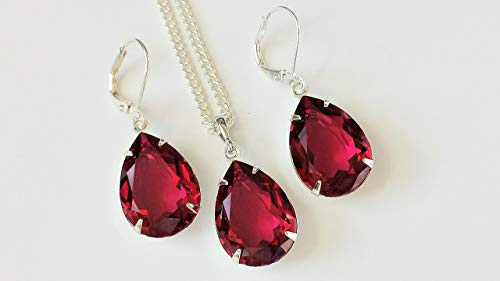 Swarovski Ruby Crystal Jewelry Silver Drop Rhinestone Earrings and Necklace Set