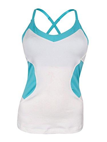- Fila Women's Platinum Cami Tank Top Tennis Shirt, White, Teal Pirahna, M