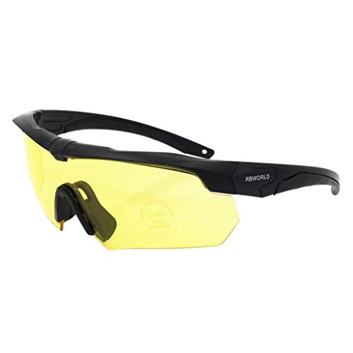 MaxFox RockBros Tactical Goggles Bulletproof Polarized Glasses Sunglasses 3 Lens with Frame for Outdoor Crossbow Cycling Shooting Sports (Yellow)