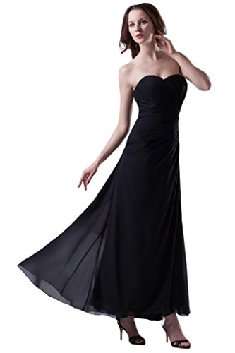 in da Prom Sunvary elegante abiti pieghe chiffon a tulle ghigliottina Nero con fiore sera qEFCTw0C