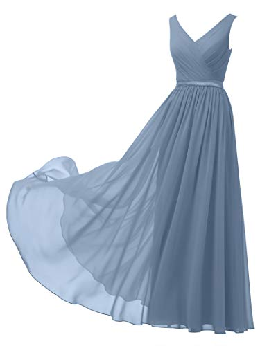 Alicepub V-Neck Chiffon Bridesmaid Dress Long Party Prom Evening Dress Sleeveless, Dusty Blue, US24