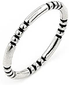 Plain Silver Decorated Stackable Band Sterling Silver 925 Ring