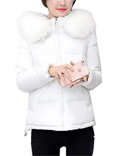 Caliente Invierno Parkas Acolchado Plumas Outdoor Battercake Elegante Mujer Blanco Manga Pluma Abrigo De Casuales Cortos Delgado Piel Moda Capucha Larga Zip Con Mujeres H4OxItxdwn