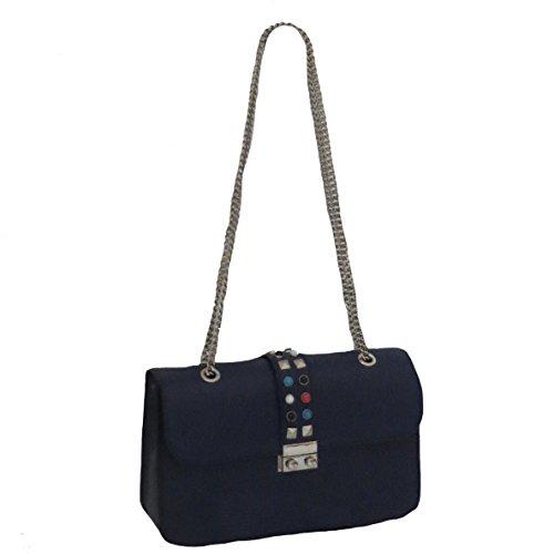 Marine Pochette colorés pochette sac d'été bandoulière soirée sac en chaînes Bleu détails de cuir pochette Simone cloutés sac coloré d'été HxOIqdHCw