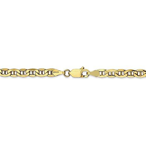 4 mm 10k Yellow Gold Lightweight Anchor Chain Bracelet - 7 -