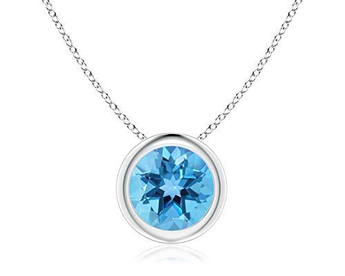 14k White Gold 7mm Round Swiss Blue Topaz Bezel Gemstone Pendant Necklace, 18