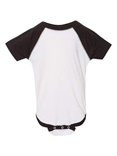 Cotton Jersey Solid Baseball (Rabbit Skins - Infant Baseball Fine Jersey Bodysuit - 4430 - NB - White Solid/Black)