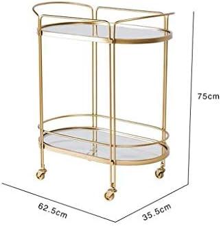 FCSFSF Chaise Table de Bout Table d'appoint Nordique avec Roues Mobile Table Basse Chariots en Verre Table de Chevet en Or pour Salon Chambre