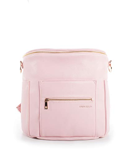Fawn Design Original Diaper Bag Designed for Women - Backpack for Baby Essentials, Diapers, and Everyday Use - Premium Faux Leather, Interior/Exterior Pockets, Interchangeable Straps -2017 Ed- Blush (Diaper Bag Pink And Brown)