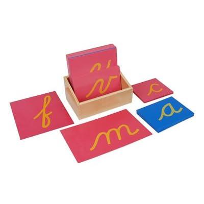 Kid Advance Montessori Lower Case Cursive Sandpaper Letters w/ Box: Toys & Games