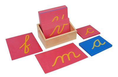 Kid Advance Montessori Lower Case Cursive Sandpaper Letters w/ Box by Kid Advance