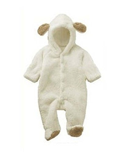 VLUNT Unisex-Baby White Sheep Hoodie Romper Soft Cozy Infant Jumpsuit Costume ()