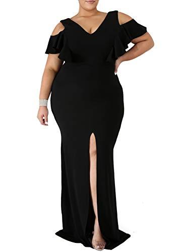 GOSOPIN Women Summer Evening Party Dress Short Sleeve Fishtail Plus Size Gown XXXX-Large Black