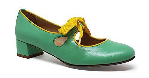 Piel Bajo Zapato Verde Carlota Tacón De EFqt8