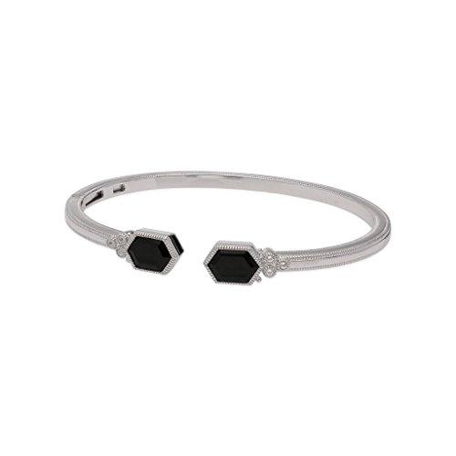 JUDITH RIPKA Martinique Black Onyx Upside Down Double Hexagon Cuff With White Topaz Accents
