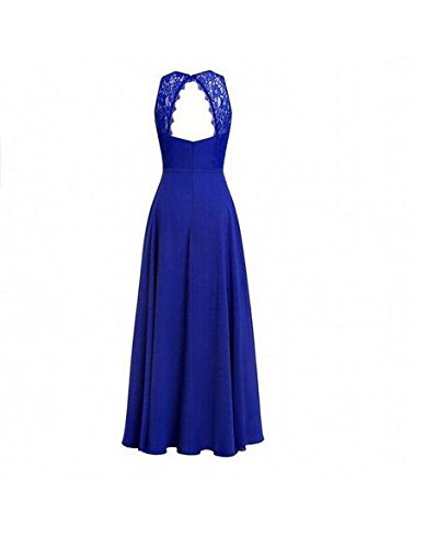 Navy O Bridesmaid Botong Party Long Neck Dress Back Prom Top Lace Dress Chiffon Hollow gOfHTq