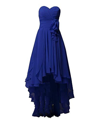 Robes De Demoiselle D'honneur Asbridal Longue Robe De Bal En Mousseline De Soie Robe Salut Bas Parti Dos Nu Bleu Royal