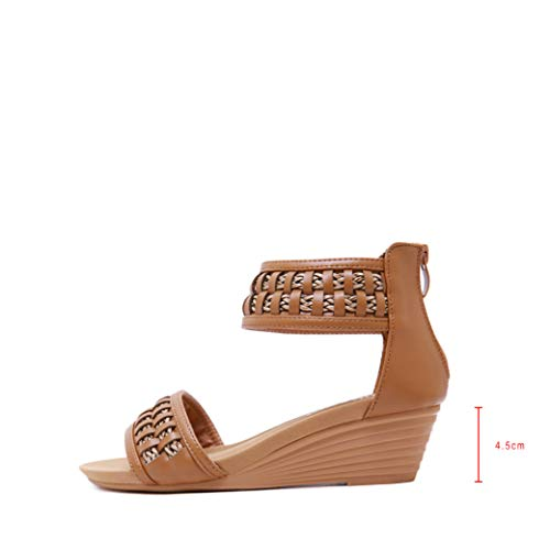 (Women's Mid Wedge Vintage Braided Sandals Comfortable Ankle Strap Open Toe Bohemian Zipper Sandal Brown)