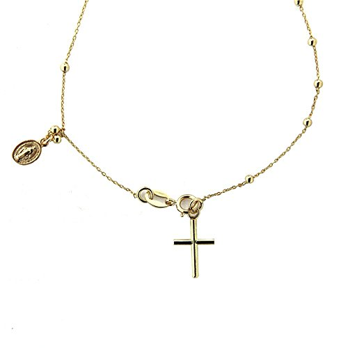 - 18k Yellow Gold Rosary Bracelet with cross and miraculous medal 7 inch