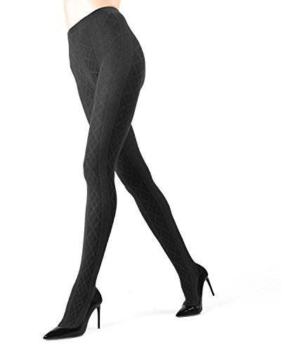 Memoi Juneau Diamonds Sweater Tights | Women's Hosiery - Pantyhose Dark Grey Heather MO 389 Large/XLarge ()