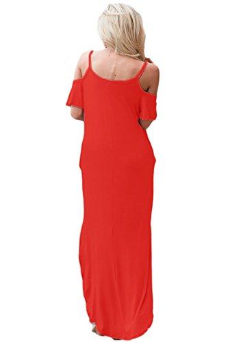 Damen Rot Kalte Schulter Maxi Kleid Club Wear Party Casual Größe M ...