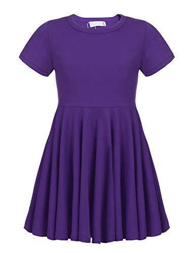 Balasha Girls Short Sleeve High Low Swing Spinning Skater Dress -
