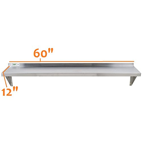 - Royal Industries Wall Shelf, 12'' x 60'', Stainless Steel
