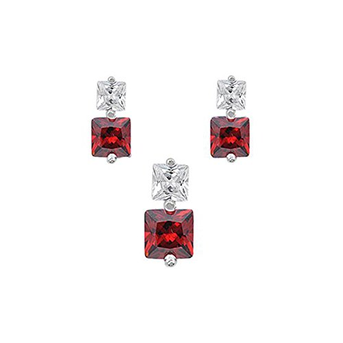 Sterling Silver Luxurious Garnet Simulated Princess Cut Earrings and Pendant Set on Tension -