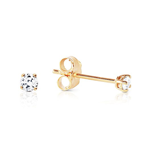 0.10 Carat (CTW) Natural Round Brilliant Diamond 14K Solid Gold Stud Earrings H-I color, SI1-SI2 clarity