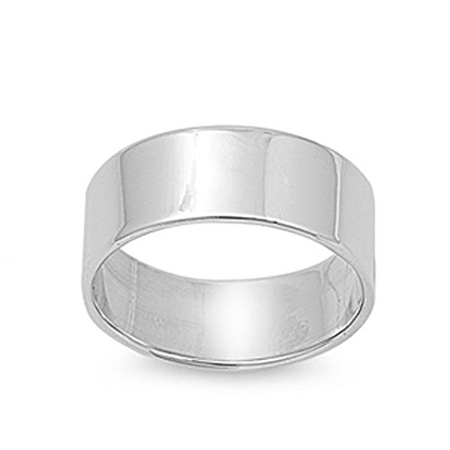 Cigar Wedding 8mm Wide Flat Men's Ring New .925 Sterling Silver Band Size (Sterling Silver Cigar Band Ring)