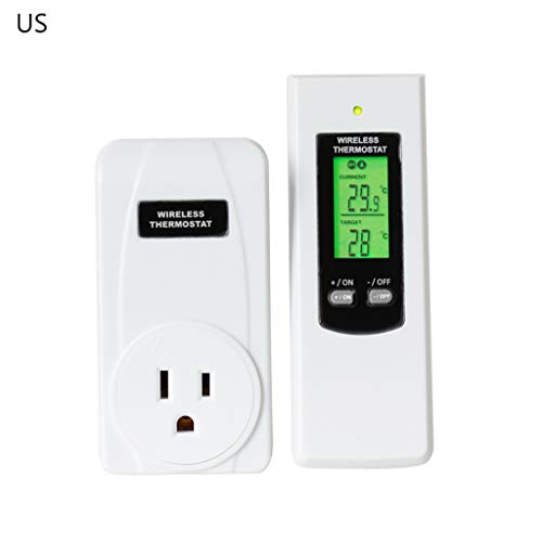 Remote Control Wireless Plug in Thermostat Hydroponic RF Heating & Cooling Temperature Controller EU/UK/US Plug (Best Wireless Thermostat Uk)
