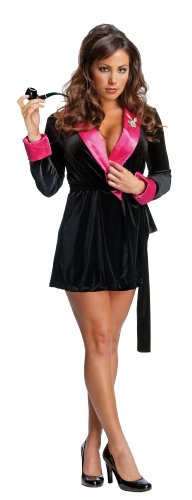Playboy Hugh Hefner Costumes (Secret Wishes Women's Playboy Hef Smoking Jacket Costume, Black/Pink, Large)