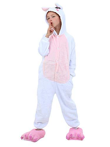 Unisex Kids Adults Animal Costume Onesie Pajamas Pink Rabbit Tag 140 - Height:4'6
